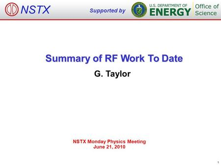 Summary of RF Work To Date G. Taylor NSTX Monday Physics Meeting June 21, 2010 NSTX Supported by 1.