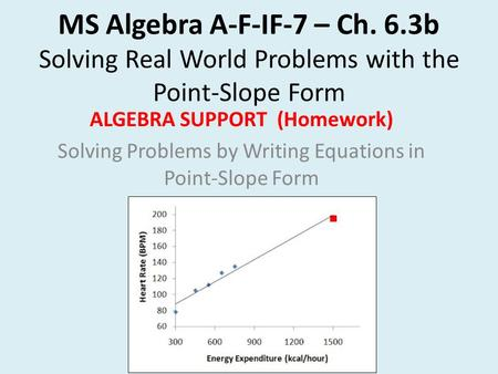MS Algebra A-F-IF-7 – Ch. 6.3b Solving Real World Problems with the Point-Slope Form ALGEBRA SUPPORT (Homework) Solving Problems by Writing Equations in.