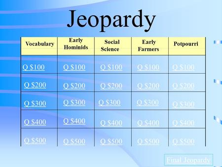 Jeopardy Vocabulary Q $100 Q $200 Q $300 Q $400 Q $500 Q $100 Q $200 Q $300 Q $400 Q $500 Final Jeopardy Early Hominids Social Science Early Farmers Potpourri.