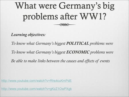 What were Germany's big problems after WW1? Learning objectives: To know what Germany's biggest POLITICAL problems were To know what Germany's biggest.
