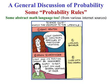 "A General Discussion of Probability Some ""Probability Rules"" Some abstract math language too! (from various internet sources)"