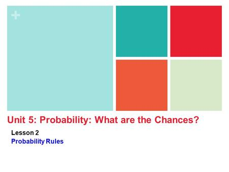 + Unit 5: Probability: What are the Chances? Lesson 2 Probability Rules.