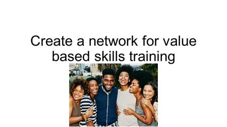 Create a network for value based skills training Project proposal Youth Vision 5000.