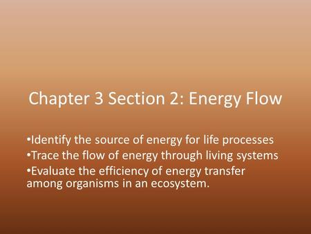 Chapter 3 Section 2: Energy Flow Identify the source of energy for life processes Trace the flow of energy through living systems Evaluate the efficiency.