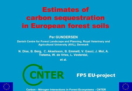 Estimates of carbon sequestration in European forest soils FP5 EU-project CNTER Per GUNDERSEN Danish Centre for Forest Landscape and Planning, Royal Veterinary.