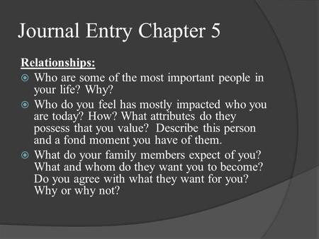 Journal Entry Chapter 5 Relationships:  Who are some of the most important people in your life? Why?  Who do you feel has mostly impacted who you are.