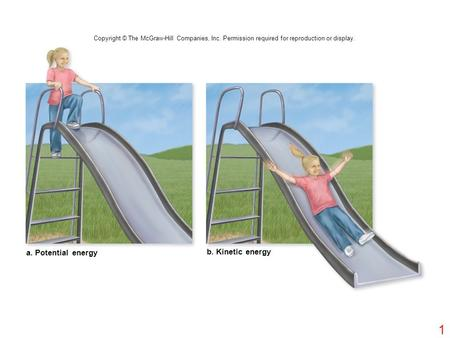 A. Potential energy b. Kinetic energy Copyright © The McGraw-Hill Companies, Inc. Permission required for reproduction or display. 1.
