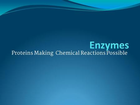 Proteins Making Chemical Reactions Possible