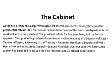 The Cabinet.