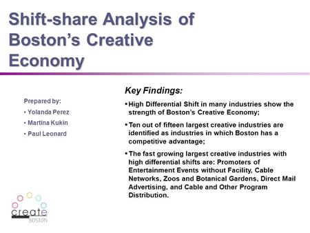 0 Shift-share Analysis of Boston's Creative Economy Prepared by: Yolanda Perez Martina Kukin Paul Leonard Key Findings:  High Differential Shift in many.