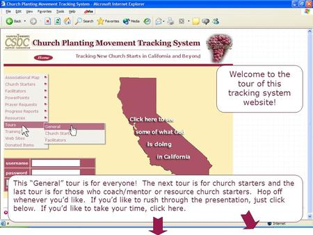 "Welcome Welcome to the tour of this tracking system website! This ""General"" tour is for everyone! The next tour is for church starters and the last tour."