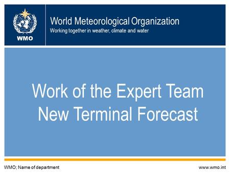World Meteorological Organization Working together in weather, climate and water Work of the Expert Team New Terminal Forecast WMO; Name of departmentwww.wmo.int.