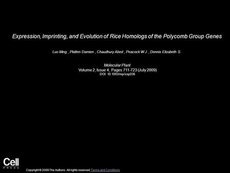 Expression, Imprinting, and Evolution of Rice Homologs of the Polycomb Group Genes Luo Ming, Platten Damien, Chaudhury Abed, Peacock W.J., Dennis Elizabeth.