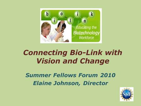 Connecting Bio-Link with Vision and Change Summer Fellows Forum 2010 Elaine Johnson, Director.