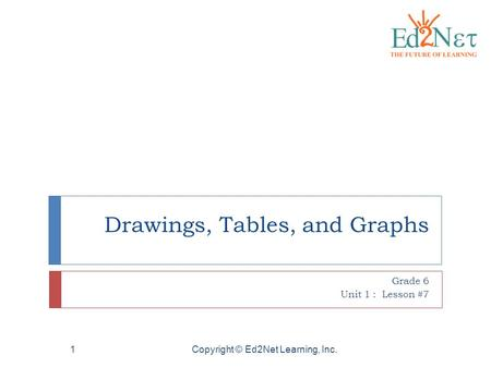 Copyright © Ed2Net Learning, Inc.1 Drawings, Tables, and Graphs Grade 6 Unit 1 : Lesson #7.