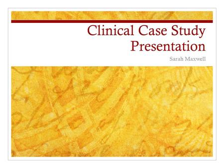 Clinical Case Study Presentation Sarah Maxwell. Situation 66 yr old male CC: generalized weakness leg pain orbital eye pain Patient brought to ER by wife.