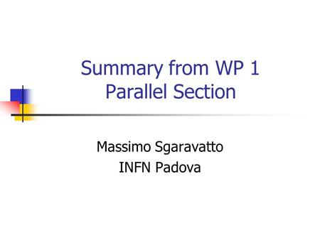 Summary from WP 1 Parallel Section Massimo Sgaravatto INFN Padova.