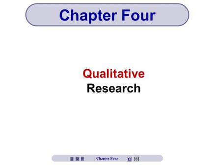 Qualitative Research Chapter Four. Chapter Four Objectives Define qualitative research Explore the popularity of qualitative research Understand the limitations.