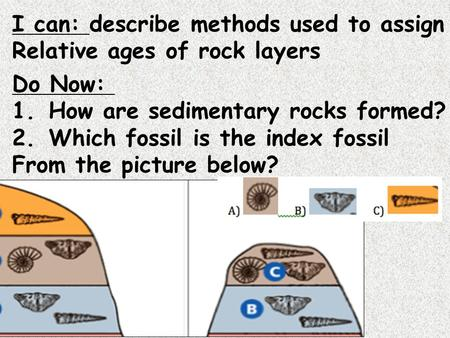 I can: describe methods used to assign Relative ages of rock layers Do Now: 1.How are sedimentary rocks formed? 2.Which fossil is the index fossil From.