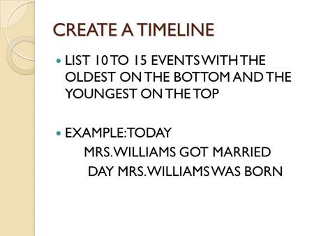 CREATE A TIMELINE LIST 10 TO 15 EVENTS WITH THE OLDEST ON THE BOTTOM AND THE YOUNGEST ON THE TOP EXAMPLE: TODAY MRS. WILLIAMS GOT MARRIED DAY MRS. WILLIAMS.