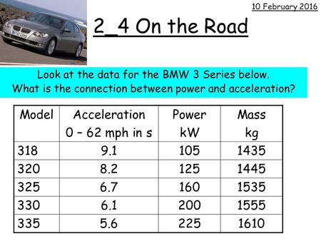 2_4 On the Road Look at the data for the BMW 3 Series below. What is the connection between power and acceleration? 10 February 2016 ModelAcceleration.