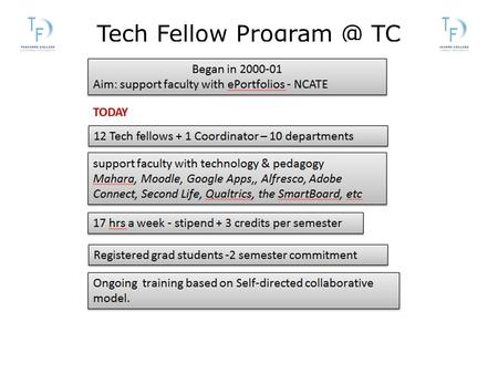Tech Fellow TC. THE ROLE OF THE TECH FELLOW Assist faculty one-on-one (in person,  , phone, chat, web conferencing) (Moodle, Google Apps,