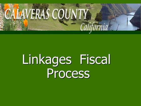 Linkages Fiscal Process Calaveras County Demographics n46,843 Estimated Population n n14.2% Unemployment Rate July 2009.