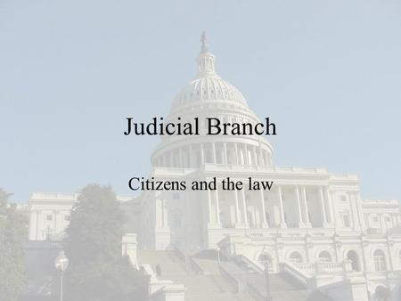 Judicial Branch Citizens and the law. Do Now: Analyze the information and explain the meaning.