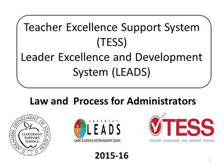 Teacher Excellence Support System (TESS) Leader Excellence and Development System (LEADS) Law and Process for Administrators 2015-16.