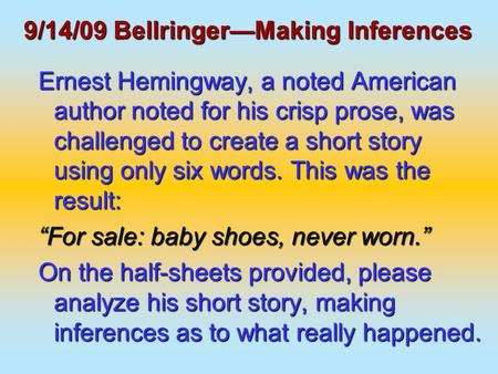 six word essay hemingway 33 writers 5 designers 6-word science fiction we'll be brief: hemingway once wrote a story in just six words (for sale: baby shoes, never worn) and.