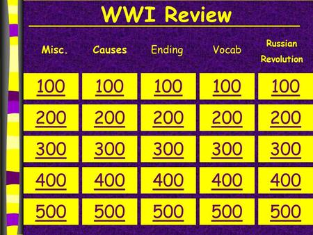 WWI Review Misc.CausesEnding 100 200 300 400 500 100 200 300 400 500 100 200 300 400 500 100 200 300 400 500 100 200 300 400 500 Russian Revolution Vocab.