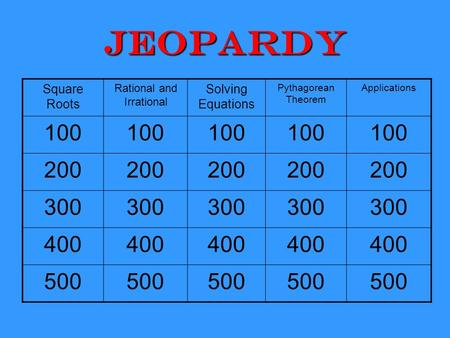 Jeopardy Square Roots Rational and Irrational Solving Equations Pythagorean Theorem Applications 100 200 300 400 500.