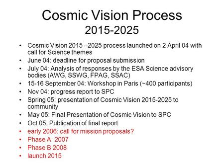 Cosmic Vision Process 2015-2025 Cosmic Vision 2015 –2025 process launched on 2 April 04 with call for Science themes June 04: deadline for proposal submission.