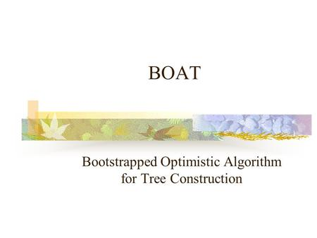 BOAT Bootstrapped Optimistic Algorithm for Tree Construction.