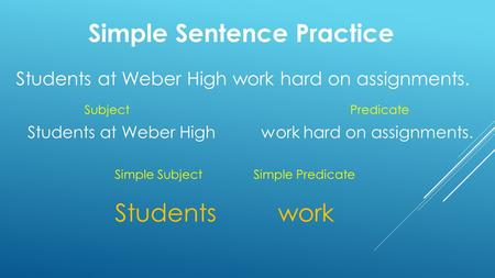Simple Sentence Practice Students at Weber High work hard on assignments. SubjectPredicate Students work Simple Subject Simple Predicate.
