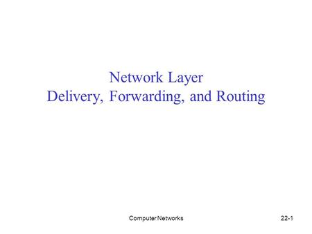 Computer Networks22-1 Network Layer Delivery, Forwarding, and Routing.