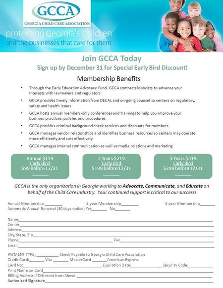 Join GCCA Today Sign up by December 31 for Special Early Bird Discount! Sign up by December 31 for Special Early Bird Discount! Membership Benefits Through.