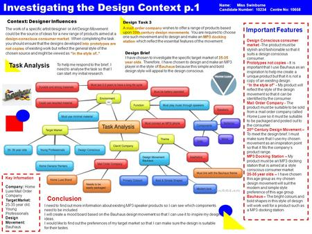 Investigating the Design Context p.1 Context: Designer Influences Important Features I need to find out more information about existing MP3 speaker products.