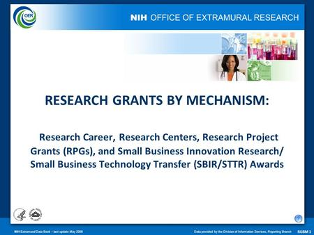 NIH Extramural Data Book – last update May 2008Data provided by the Division of Information Services, Reporting Branch RGBM 1 RESEARCH GRANTS BY MECHANISM: