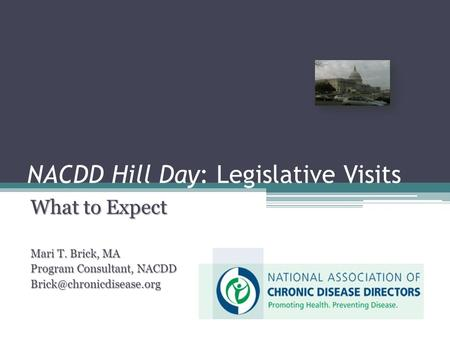 NACDD Hill Day: Legislative Visits What to Expect Mari T. Brick, MA Program Consultant, NACDD