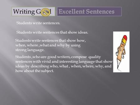Students write sentences. Students write sentences that show ideas. Students write sentences that show how, when, where,what and why by using strong language.