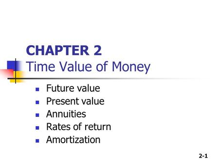 2-1 CHAPTER 2 Time Value of Money Future value Present value Annuities Rates of return Amortization.