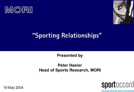 """Sporting Relationships"" 19 May 2004 Presented by Peter Hasler Head of Sports Research, MORI."