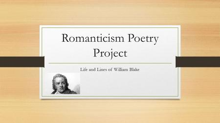 Romanticism Poetry Project