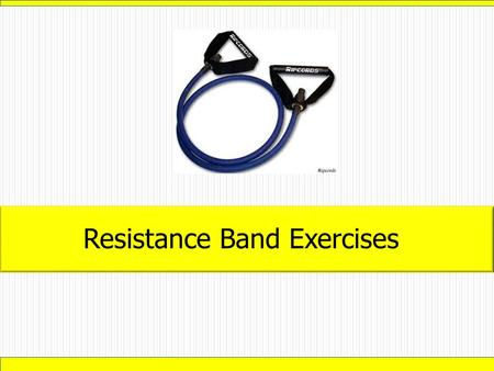 Resistance Band Exercises. -Stand in the middle of the band with feet parallel and shoulder-width apart. -Hold handles at shoulder height. -Squat while.