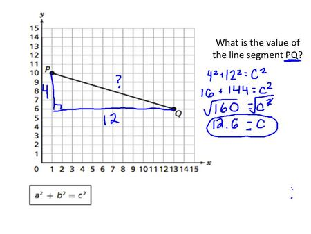 What is the value of the line segment PQ? Pythagorean Word Problems I CAN and I WILL solve real world problems using the Pythagorean Theorem.