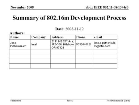 Doc.: IEEE 802.11-08/1394r0 Submission November 2008 Jose Puthenkulam (Intel)Slide 1 Summary of 802.16m Development Process Date: 2008-11-12 Authors: