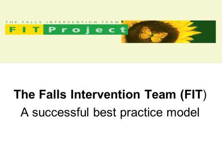 The Falls Intervention Team (FIT) A successful best practice model.