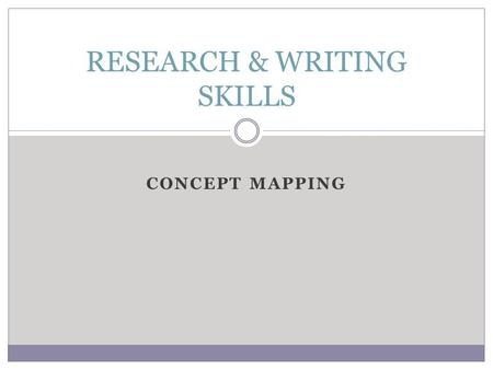 CONCEPT MAPPING RESEARCH & WRITING SKILLS. Concept map is a diagram which illustrates relationships between conceptsdiagramconcepts Graphical tool for.