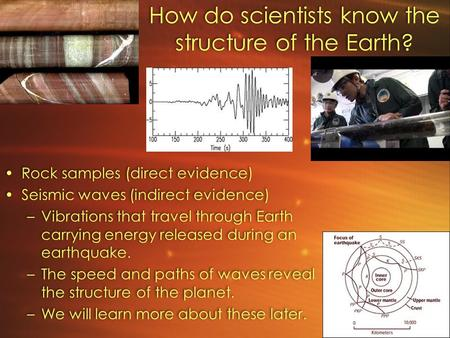 How do scientists know the structure of the Earth? Rock samples (direct evidence) Seismic waves (indirect evidence) –Vibrations that travel through Earth.